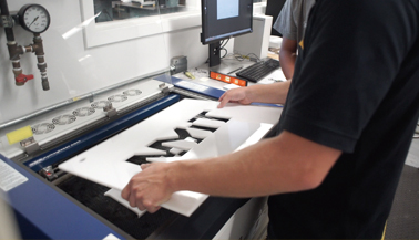 Laser-engraved NYIT sign