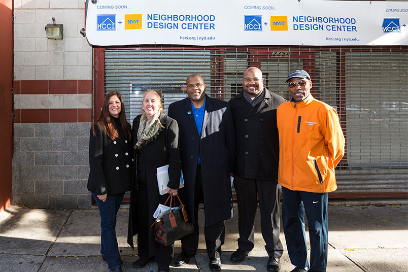 Amy Bravo, Gale Brewer, Malcolm A. Punter, Matthew Washington, and Bill Perkins stand in front of what will become the Neighborhood Design Center.