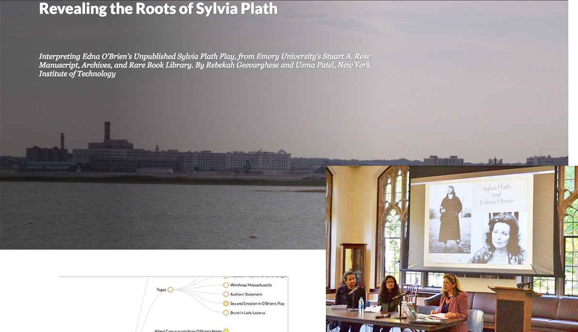 A screenshot of the presentation and Amanda Golden, Rebekah Geevarghese, and Uzma Patel present at the conference.
