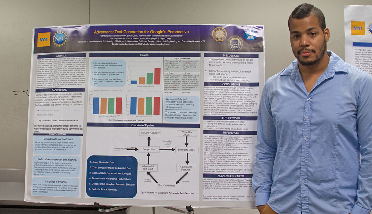 NYIT student Stephan Brown in front of his poster.