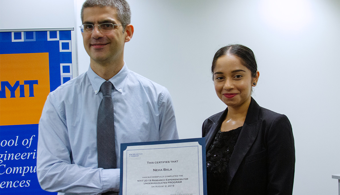 New York Institute of Technology student Neha Bala and Assistant Professor N. Sertac Artan.