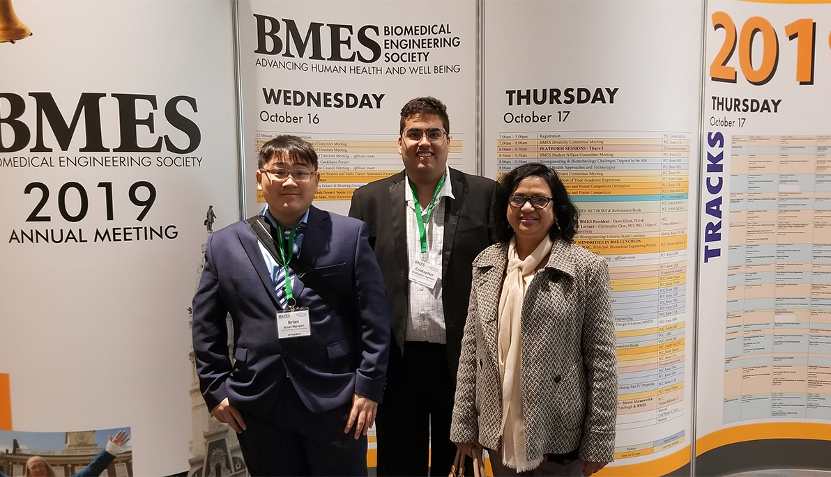 Brian Nguyen, Cristopher Garzon, and Niharika Nath at the 2019 Biomedical Engineering Society conference in Philadelphia.