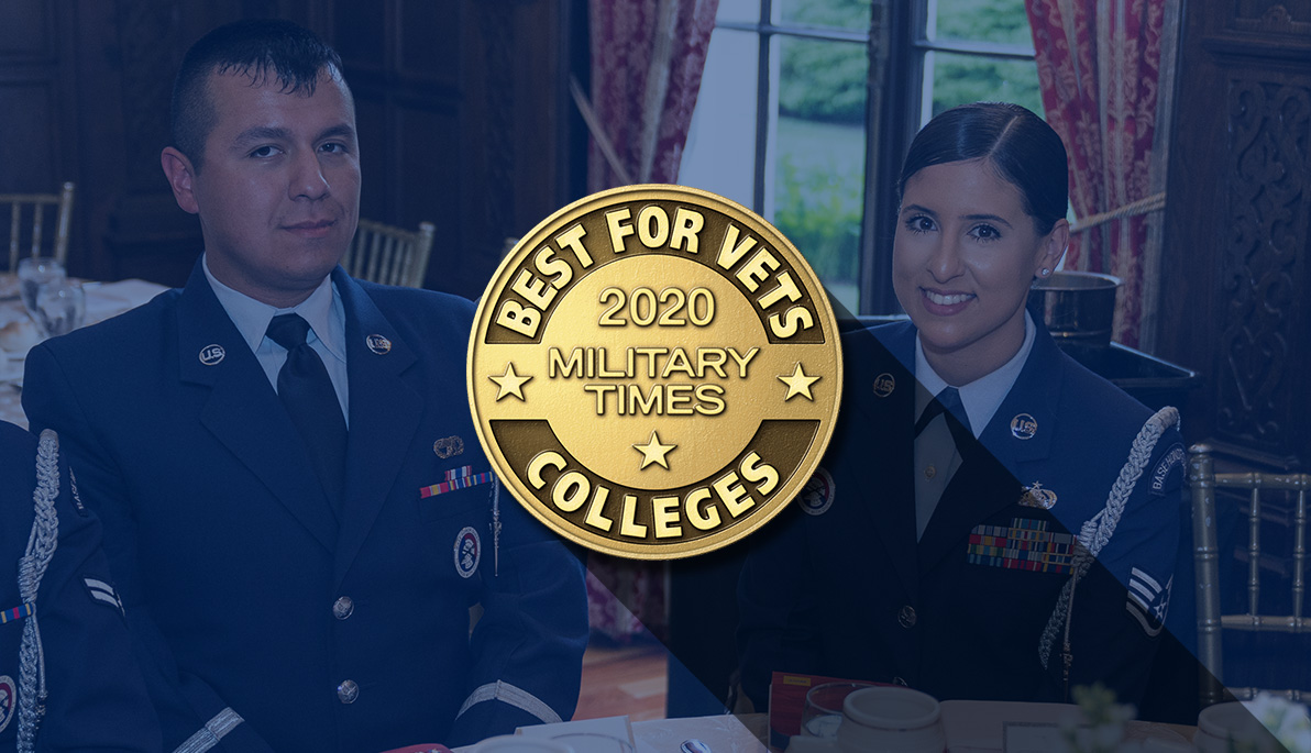 New York Tech veteran students and Military Times Best Military College badge