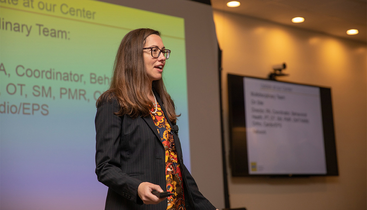New York Tech faculty member Bernadette Riley speaking at the conference