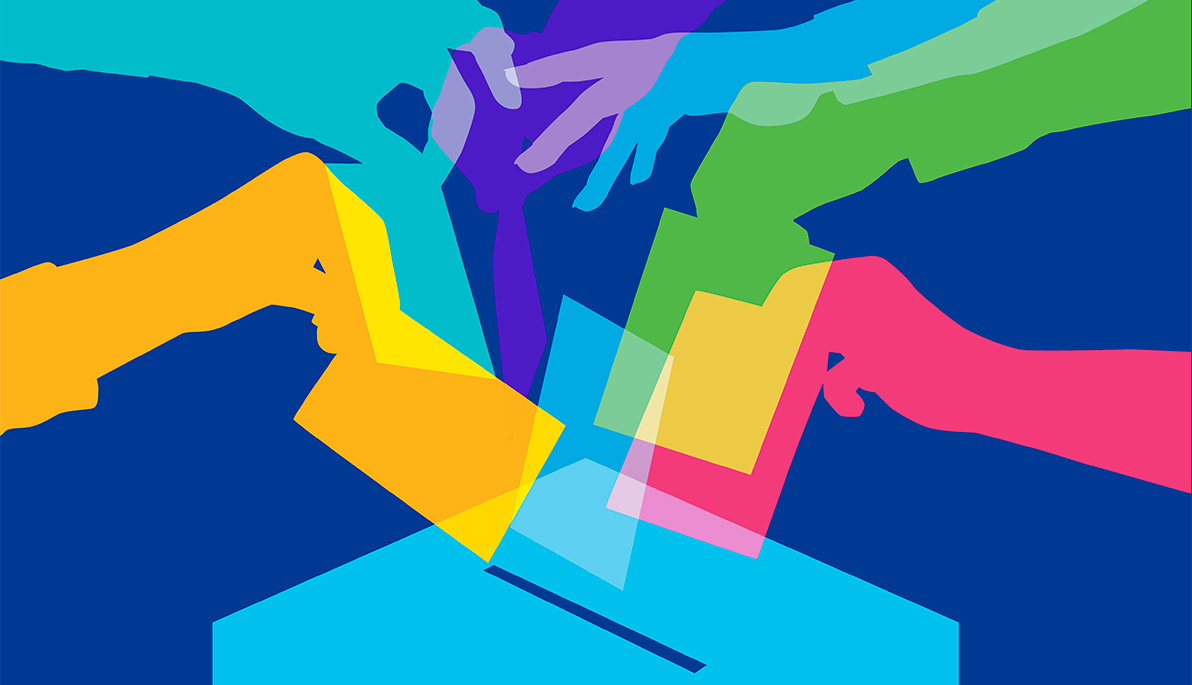 Brightly-colored illustration of hands submitting ballots into a ballot box.