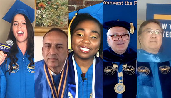 Composite of screenshot images of the speakers at Commencement 2020