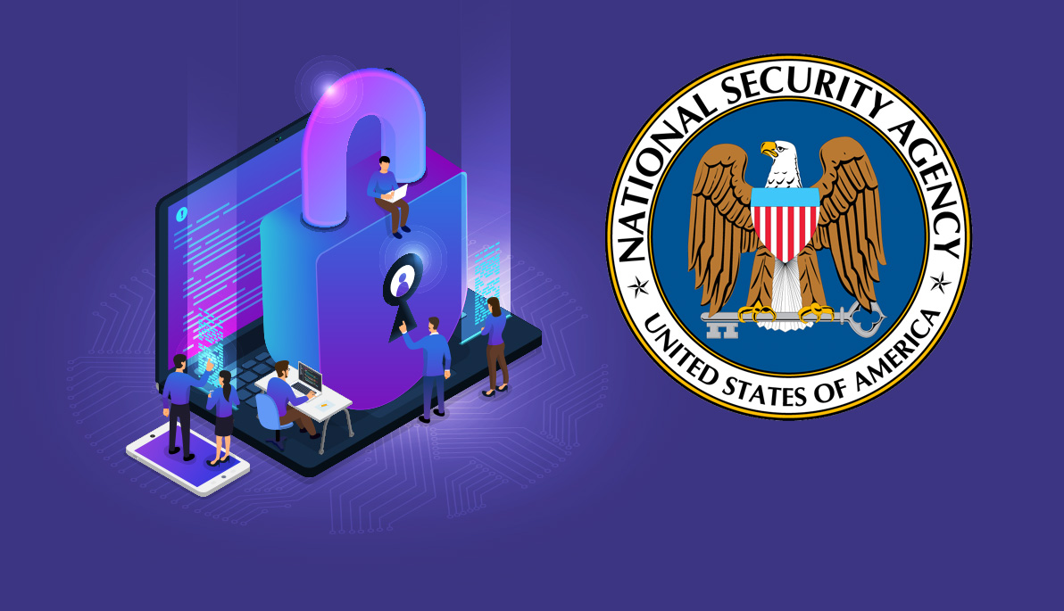 Mashup of whimsical illustration of people sitting and standing on a laptop and giant lock and NSA logo.