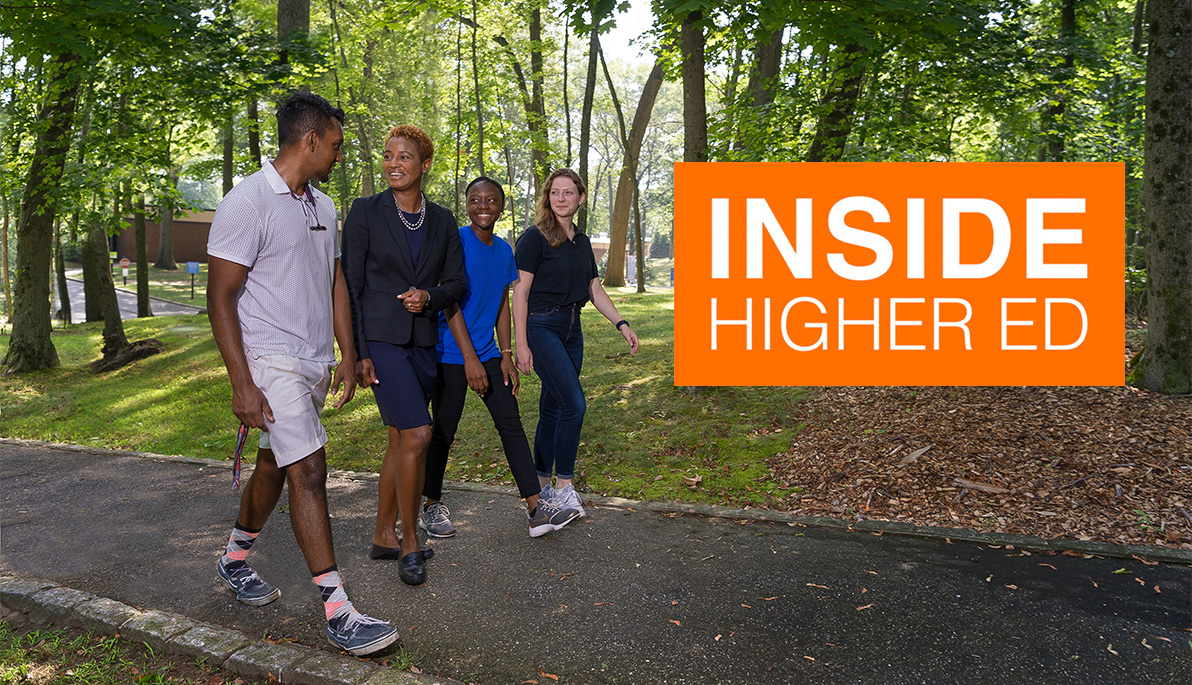 Tiffani Blake walking with students on the Long Island campus and Inside Higher Ed logo.