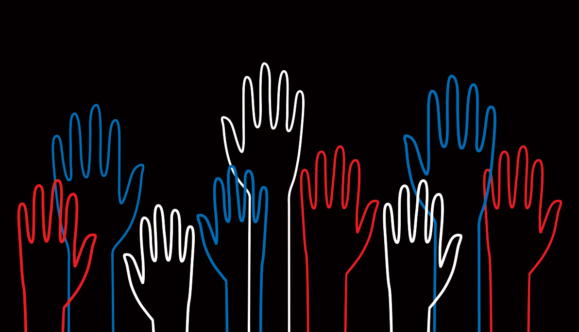 Whimsical illustration of red, white, and blue hands