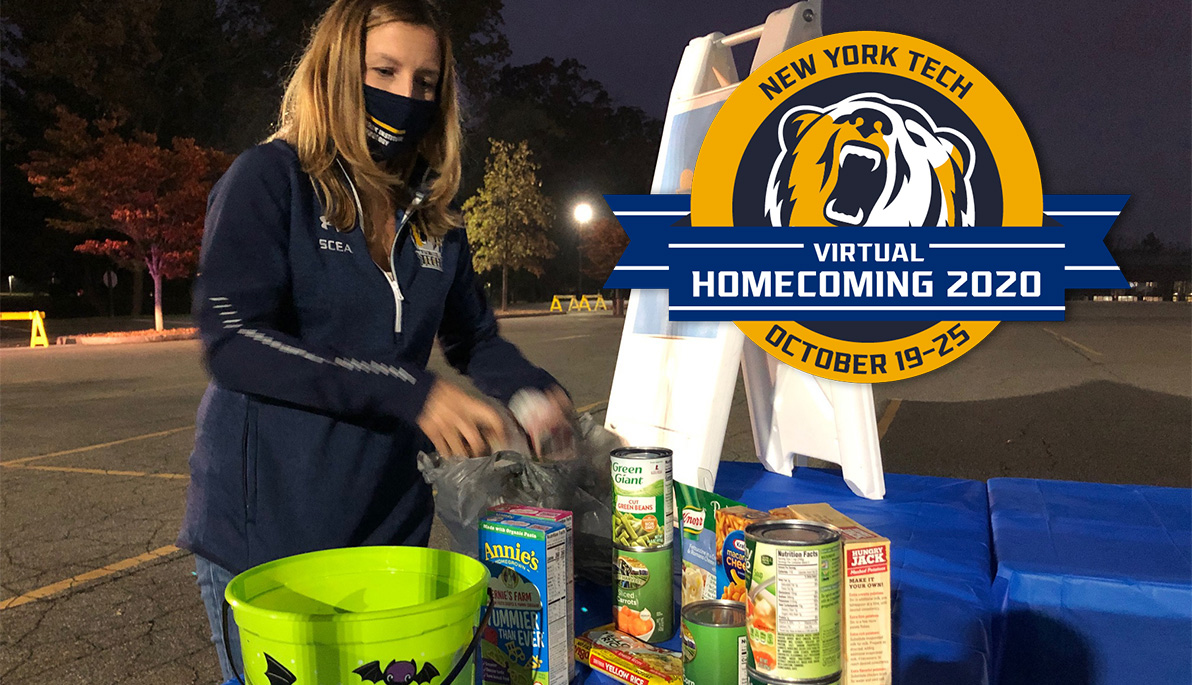 Mashup of alumna collecting food donations and Virtual Homecoming 2020 logo.