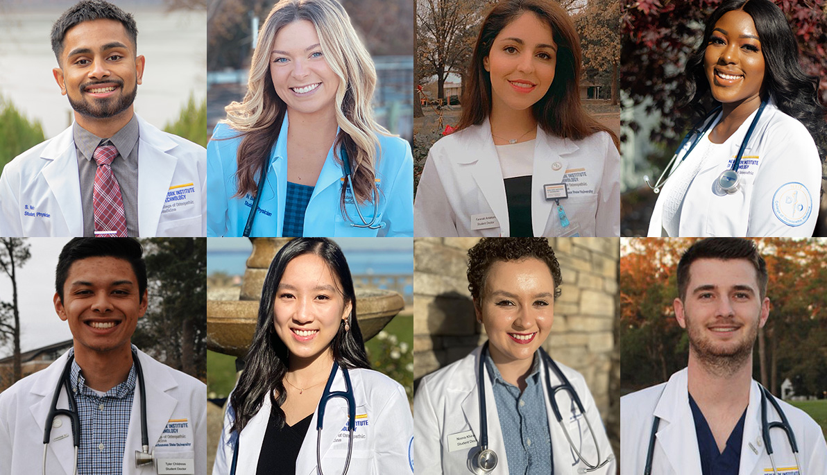 Collage of NYITCOM students in their white coats.