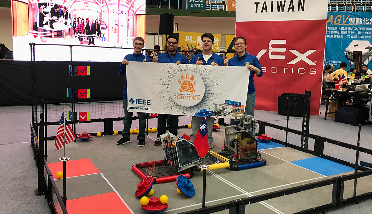 Members of the NYIT IEEE robotics team
