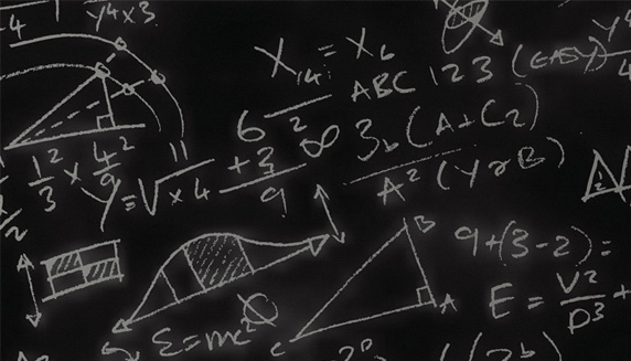 Math equations on a blackboard
