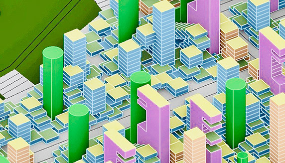 3-d rendering of busy cityscape, buildings in green
