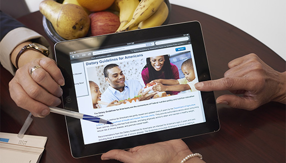 Information about clinical nutrition being shown on an iPad