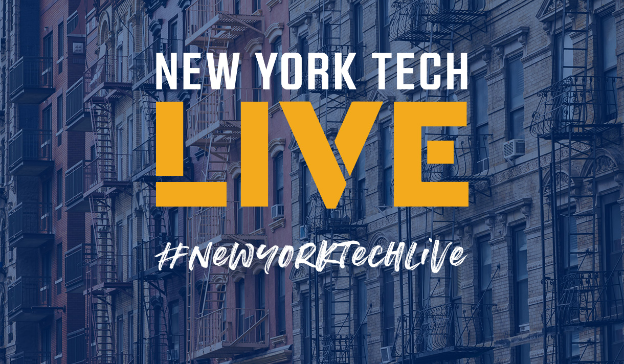 Logo for New York Tech Live with apartment buildings with fire escapes in the background