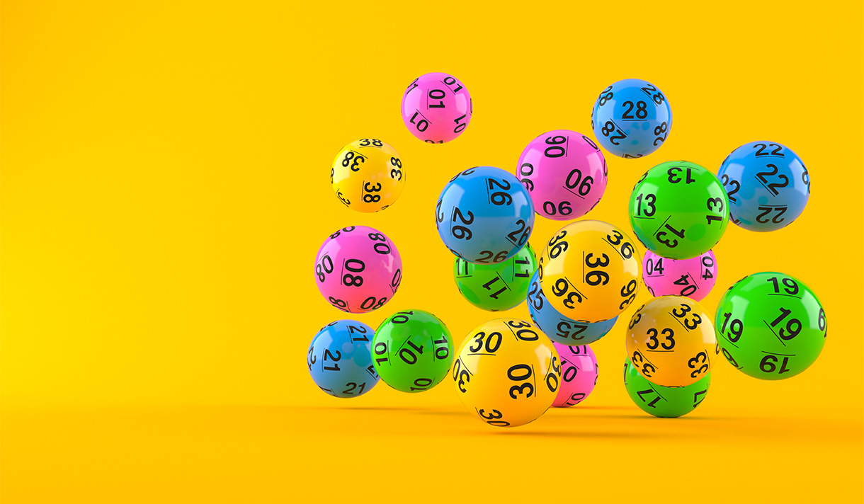 Colorful collection of bouncing numbered balls