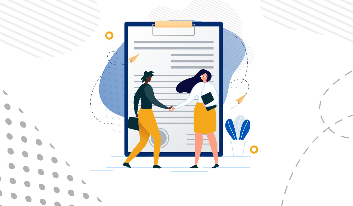 Illustration of two women in business attire shaking hands in front of a giant clipboard.