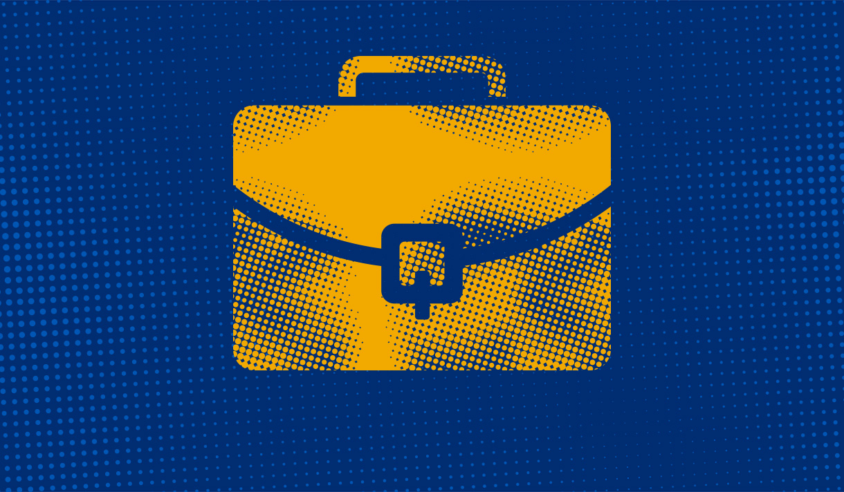 Yellow messenger bag on a navy blue background