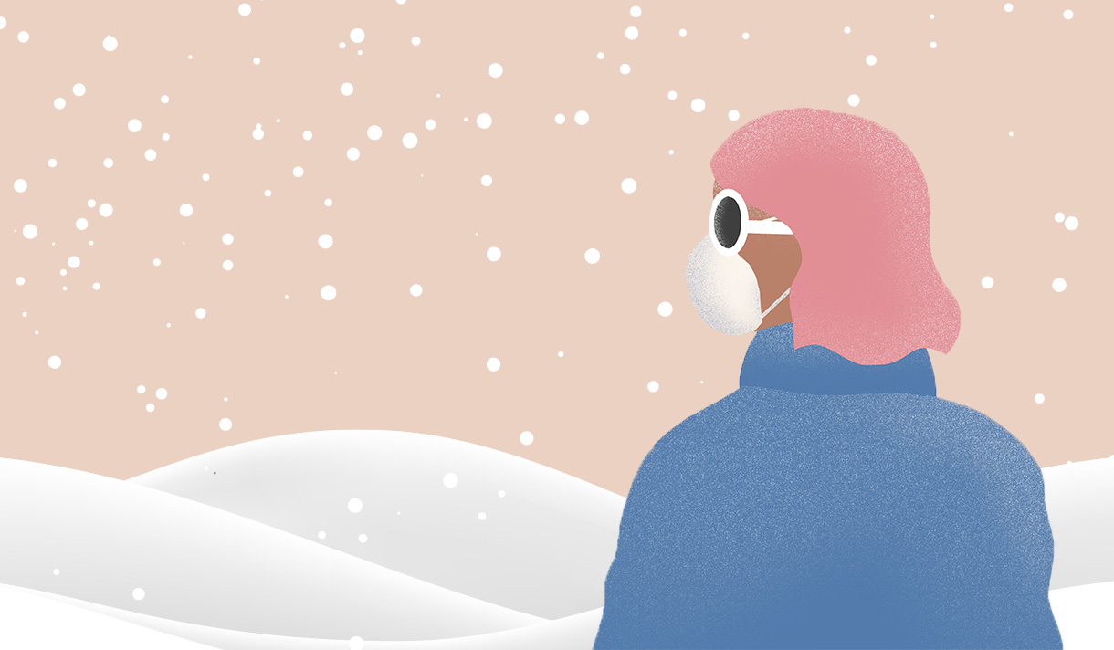 Illustration of masked student in winter coat looking at a snowdrift and a pink sky