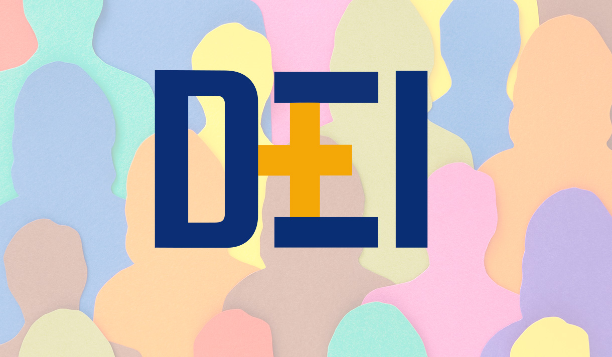 DEI logo with an illustration of silhouettes of people together