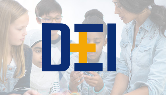 DEI series with a group of students in the background
