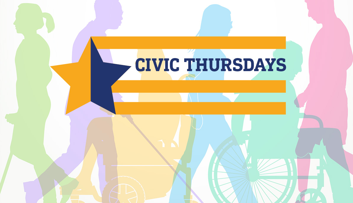 """Civic Thursdays"" logo with people passing by in the background"