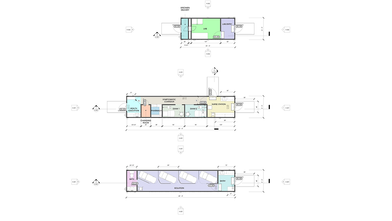 Schematics for three separate units: lab unit; nursing station and exam rooms; and isolation rooms.