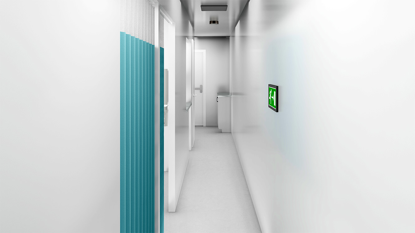 Rendering of an exam/testing room interior isolation corridor.