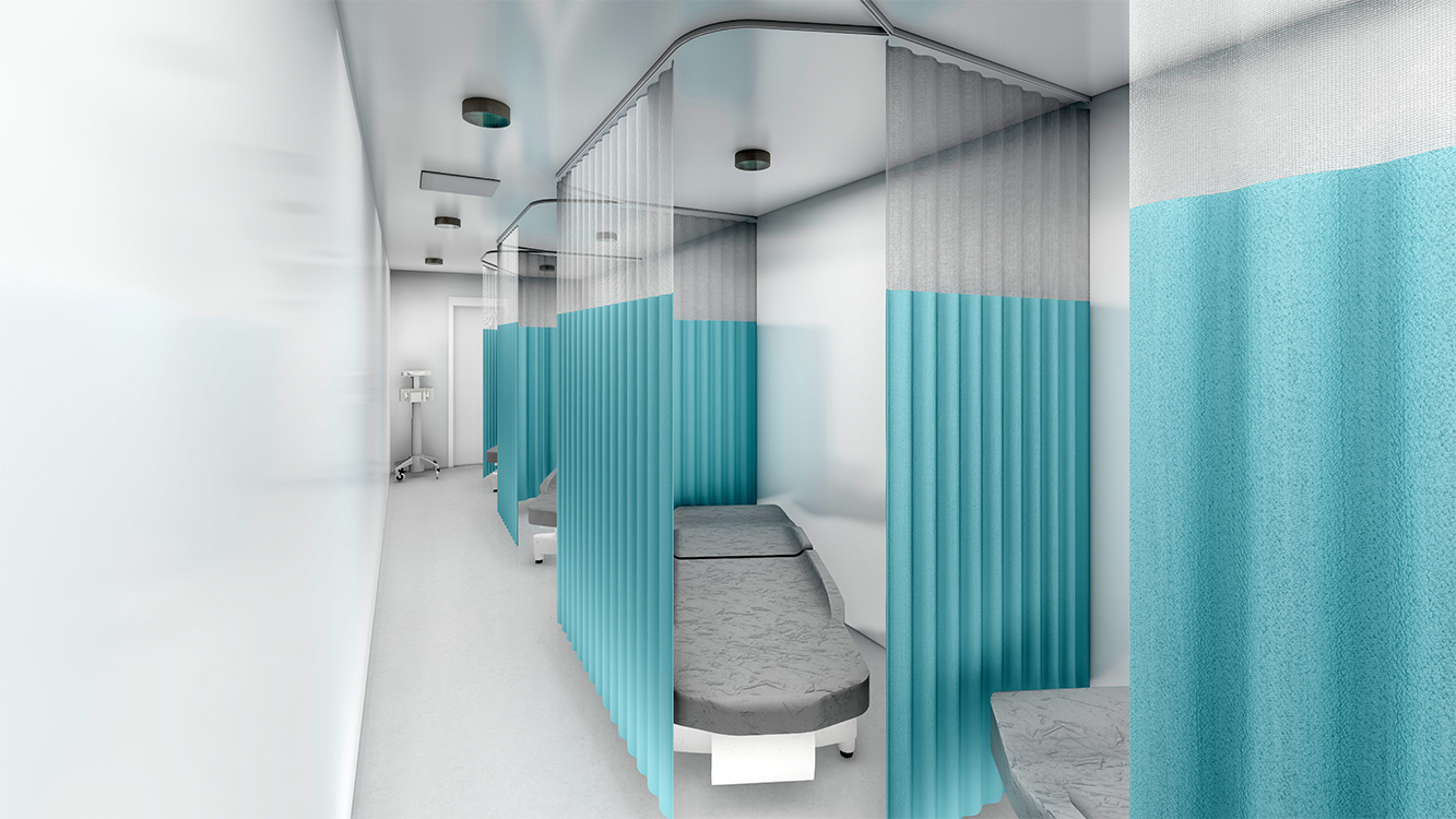 Rendering of an isolation room interior.