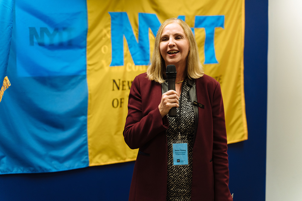 NYIT-Vancouver Executive Director & Campus Dean Irene Young welcomes guests to the grand opening ceremony.<br><br><em>Photo Credit:  Darko Sikman, Darkoroom Photography & Video Production</em>