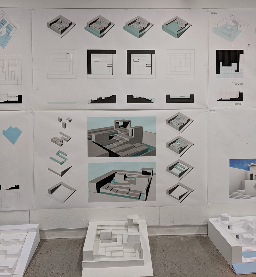 Drawings and models for a final proposal for a wave pool by a first-year student.