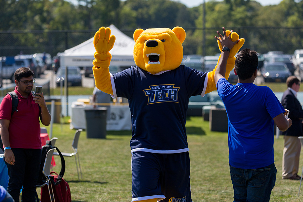 Roary, New York Tech's new mascot, made its debut.
