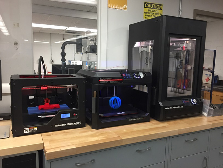 3-D printers, located at the CoECS Machine Shop, ready for deployment.