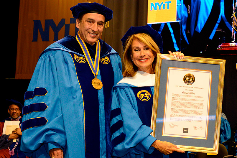 NYIT Board of Trustee Chair Kevin Silva with honorary degree recipient Carol Silva (B.F.A.).