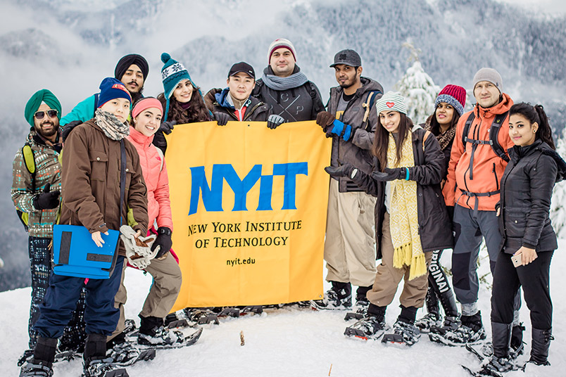 "NYIT-Vancouver students on a snowshoeing trip to Mount Seymour. ""It was quite hard, but the view on top of Dog Mountain made the trek worth it!"""