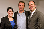 Celebrity Chef Marc Murphy (center) with NYIT Hospitality program alumna Stephanie Langdon (left) and Koenig (right).