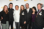 World-renowned Chef Daniel Boulud (center), greets hospitality students and faculty members at NYIT Cast Iron Chef event.