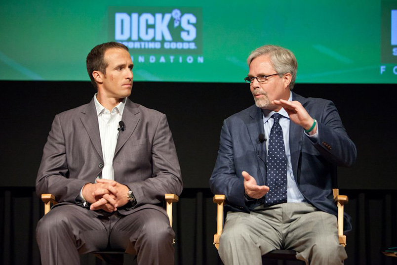 Dick's Sporting Goods Foundation Concussions In Youth Sports Panel Discussion – JUNE 26, 2012: NFL quarter back Drew Brees and Dr. Mark Lovell (Photo by Simon Russell)