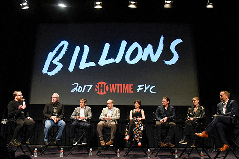 SHOWTIME Red Carpet BILLIONS Screening – MAY 05, 2017:  Moderator Sean T. Collins speaks with Brian Koppelman, David Levien, Paul Giamatti, Maggie Siff, Toby Leonard Moore, Asia Kate Dillon and David Costabile (Photo by Kris Connor)