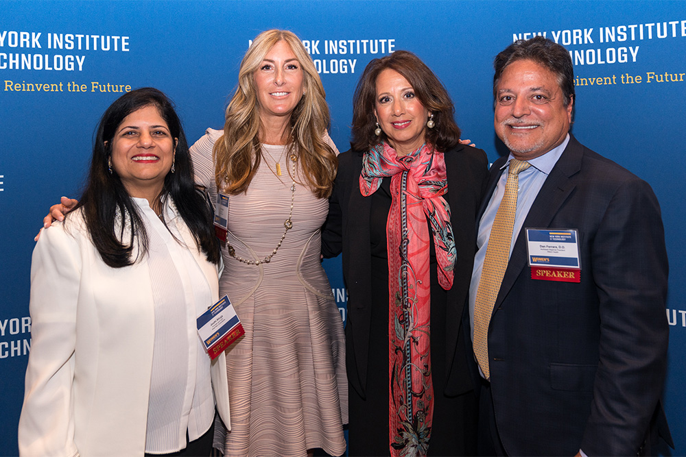 Alumna Juuhi Ahuja (M.B.A. '92), founder and CEO of Wise Men Consultants; Dari Marder, co-founder of Creative Playground; alumna Deborah Verderame, principal and president of Verderame Cale Architecture, PLLC; and New York Tech alumnus and trustee Daniel Ferrara (D.O. '86), M.B.A., Northeast Regional President of Alteon Health.