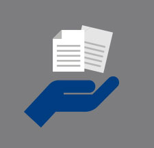 HR Benefits hand and paperwork icon