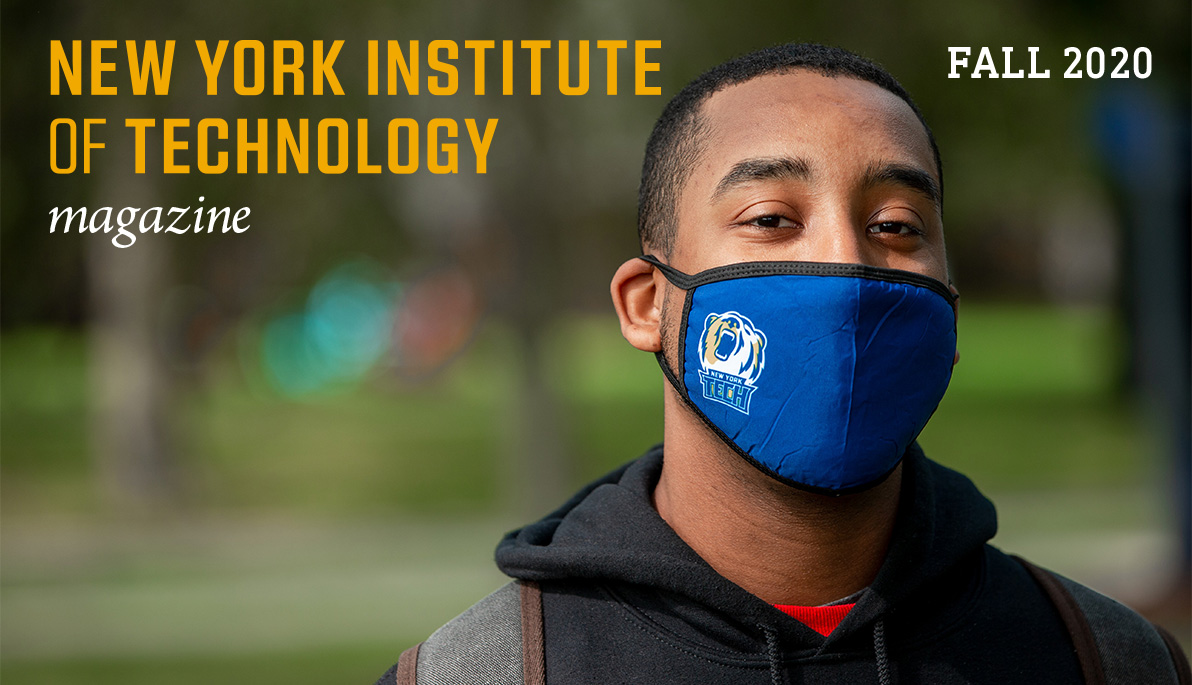 New York Tech student wearing a face mask