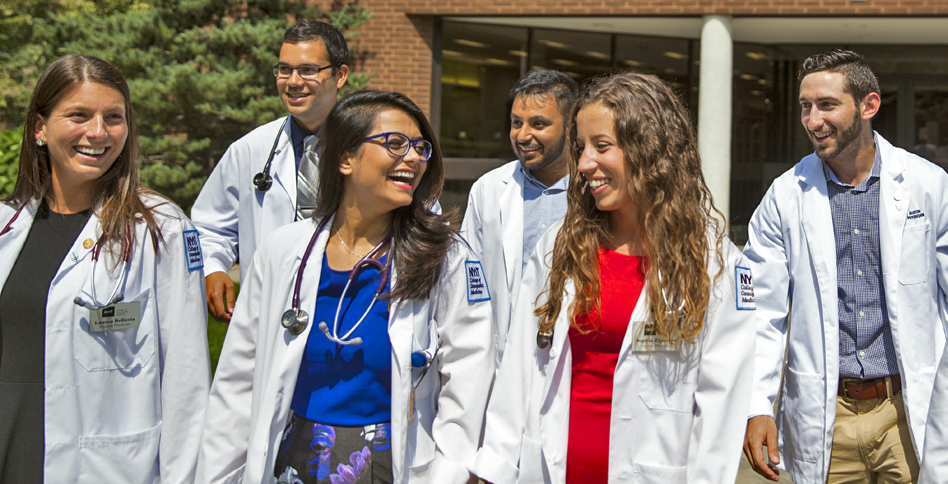 College of Osteopathic Medicine students outside of Riland Building on Long Island campus.