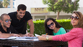 Students outdoors at NIYT's campus in Abu Dahbi, UAE