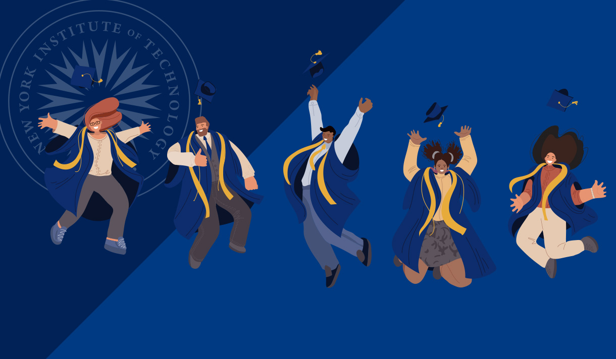 Animated students wearing academic regalia jumping in the air